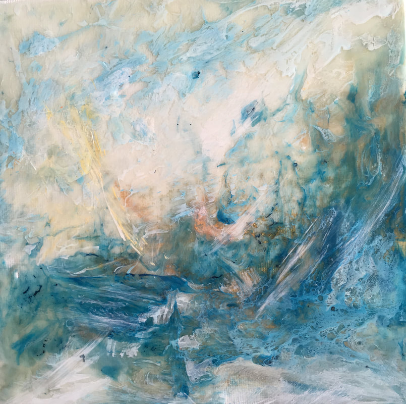 Ghosts of the Sea | Blue abstract painting | Julie Clark Art