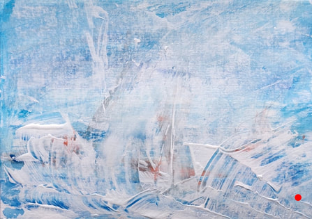 'Skim' abstract blue, white and red painting | Julie Clark art